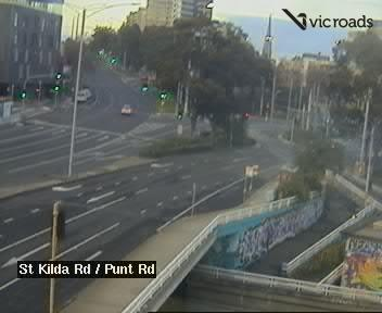 St Kilda Rd (at Punt Rd), looking south